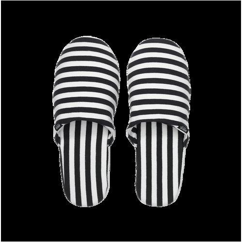 Zipper Slippers in Stripe