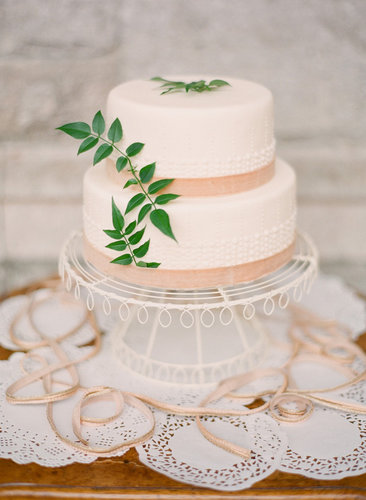 Just a hint of bead-like texture, lace, and leaves makes this one divine dessert.  Photo by KT Merry Photography via Style Me Pretty