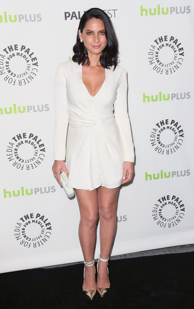 Olivia Munn was flirty-cum-chic in a plunging white J. Mendel dress and two-tone Manolo Blahnik ankle-strap pumps at PaleyFest in Beverly Hills.
