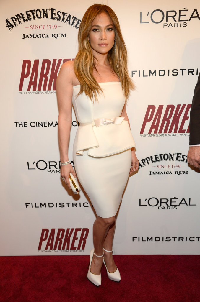 Jennifer Lopez was the vision of posh in a white peplum dress and white ankle-strap pumps, both by Lanvin, at the NYC screening of Parker.