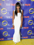 Naomi Campbell was svelte in a white Azzedine Alaia column dress with a dramatic pleated hemline at The Face series premiere party in NYC.