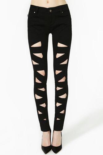 Lattice Leg Skinny Jeans