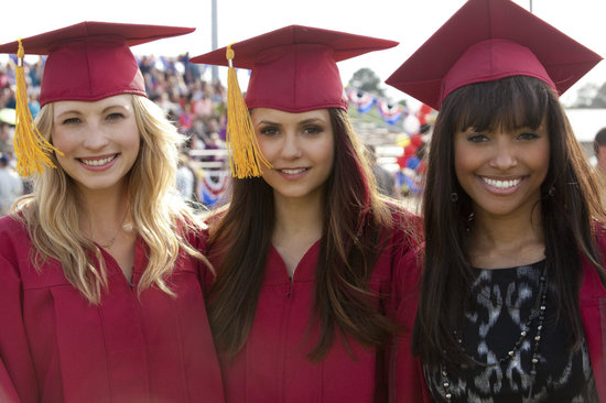 Candice Accola, Nina Dobrev, and Kat Graham on The Vampire Diaries season finale.