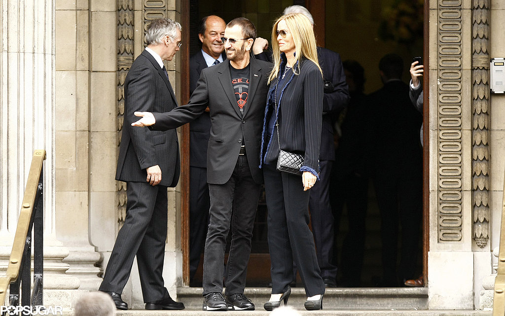 Ringo Starr and his wife, Barbara Bach, celebrated the union between Paul McCartney and Nancy Shevell in London in October 2011.