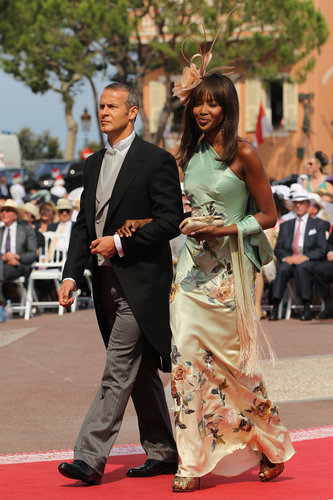 Naomi Campbell was arm in arm with Vladislav Doronin when she arrived at the royal wedding of Prince Albert II and Princess Charlene in July 2011 in Monaco.