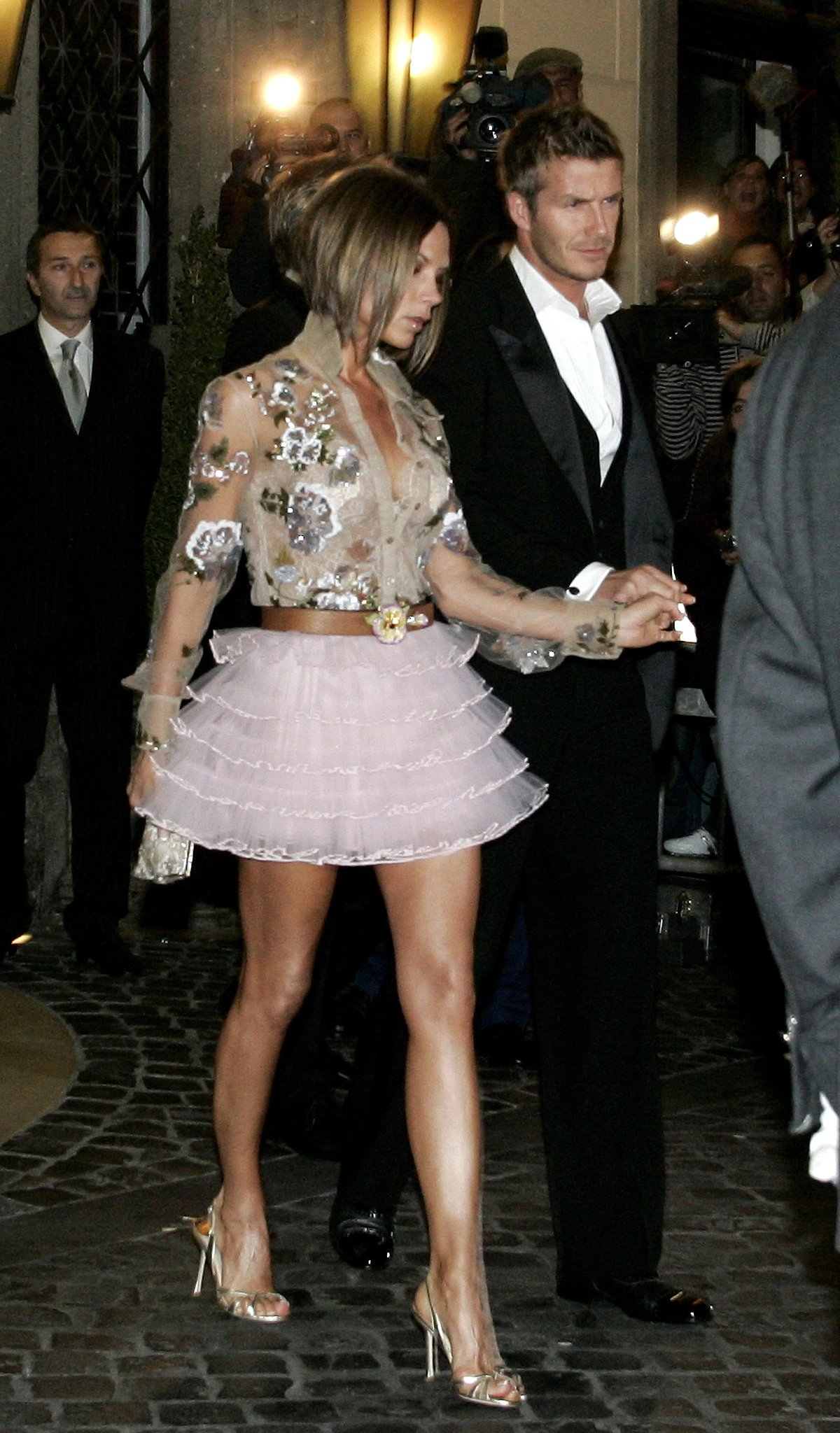 Victoria and David Beckham made their way to part of Tom Cruise and Katie Holmes's extravagant Roman wedding ceremony in November 2006.