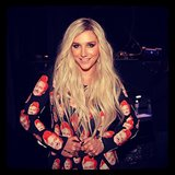 Ke$ha rocked a Conan O'Brien-print jumpsuit for her appearance on his talk show. Source: Instagram user teamcoco