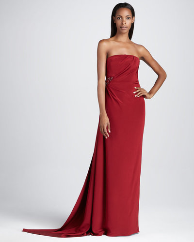 David Meister Signature Strapless Gown with Beaded Embellishment
