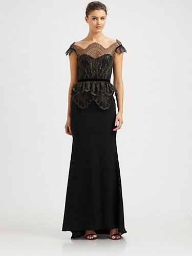 Notte by Marchesa Lace-Overlay Silk Crepe Gown