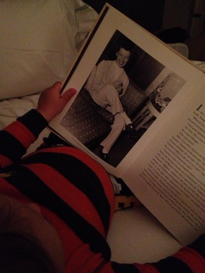 Arthur Saint Bleick had some stylish bedtime reading with photos of Katharine Hepburn. Source: Twitter user SelmaBlair