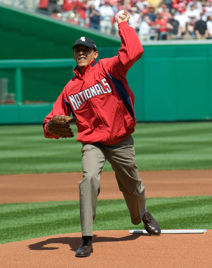 Barack Obama took the mound at the Washington Nationals game in April 2010.