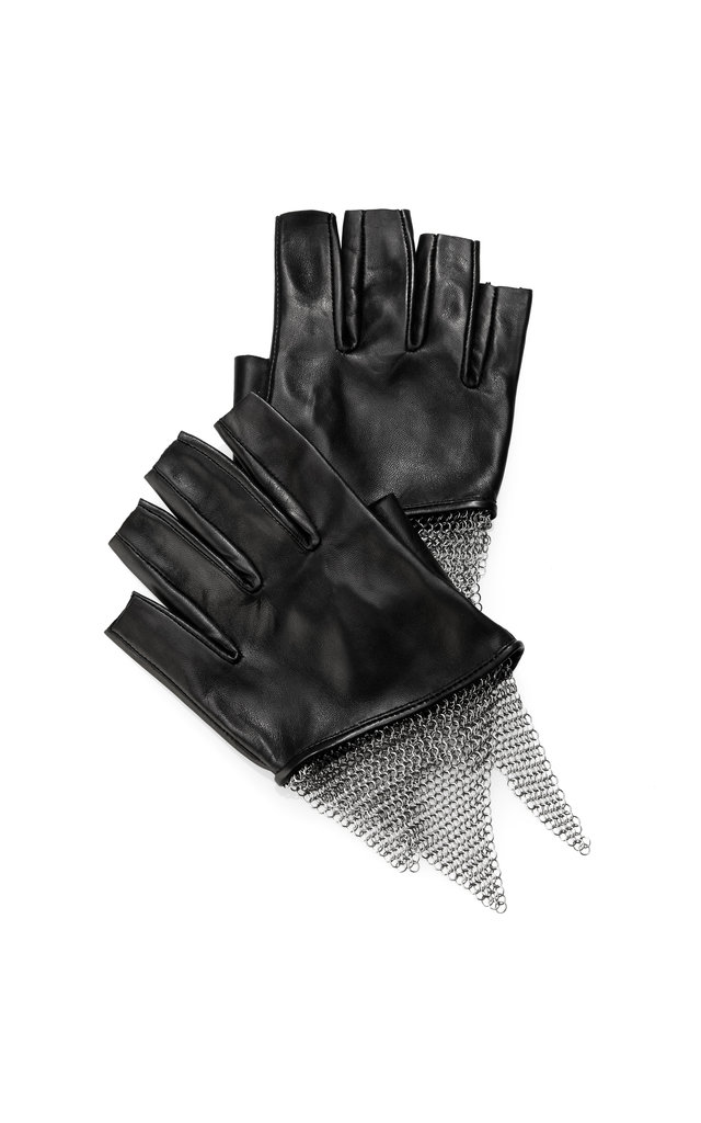 Urstadt Swan Cropped Lambskin and Chain Mesh Gloves ($450)