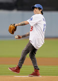 In September 2009, Pete Wentz gave the first pitch a shot at the LA Dodgers game.