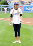 Lauren Conrad showed off her pitching skills for the LA Dodgers in June 2009.