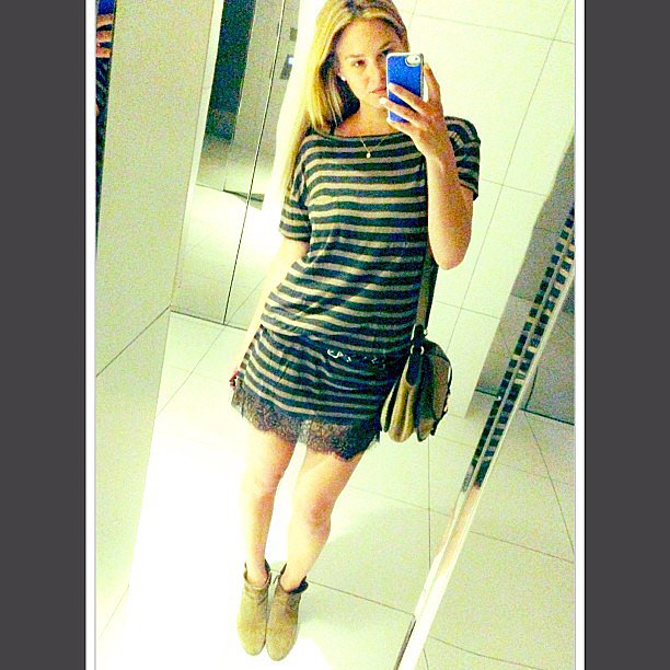 Bar Refaeli snapped a photo of her laid-back striped dress and ankle boots. Source: Instagram user barrefaeli