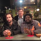 Whitney star Chris D'Elia shot a bar scene (is that apple juice?). Source: Instagram user chrisdelia