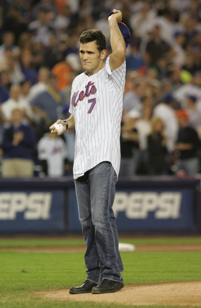 Matt Dillon saluted the crowd before pitching the first ball at the New York Mets game in October 2006.