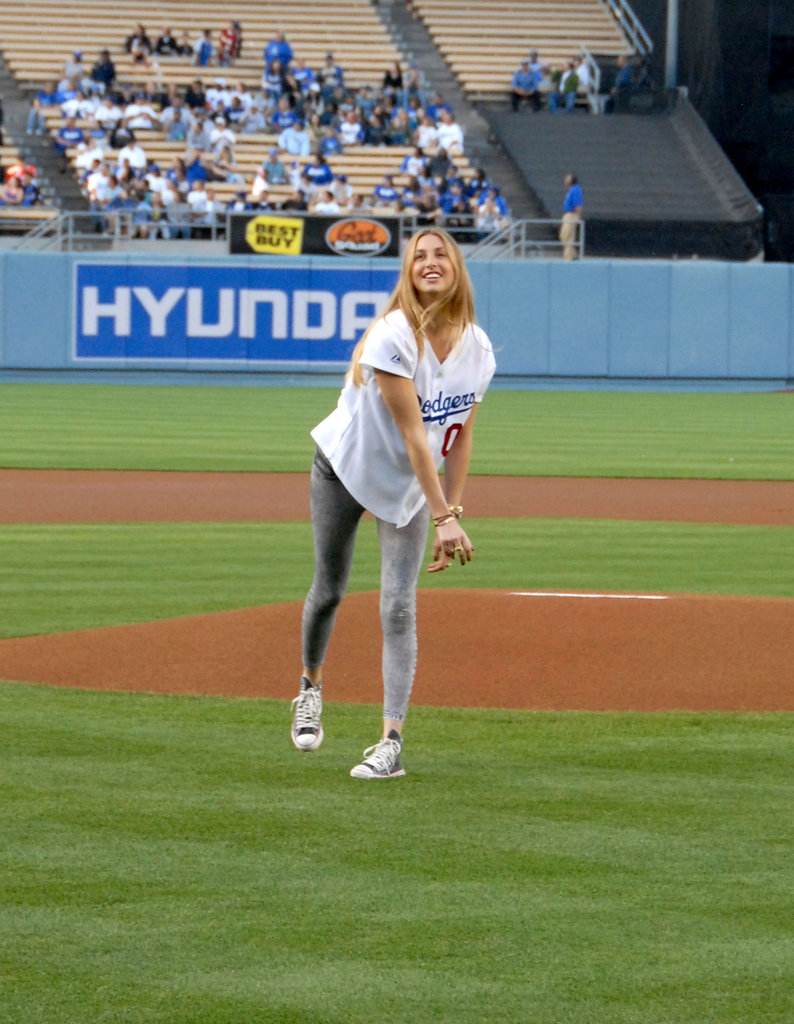 Whitney Port gave the first pitch her best at an LA Dodgers game in May 2009.