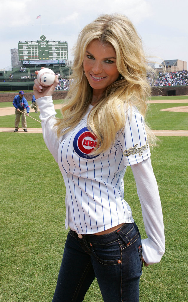 Marisa Miller made her baseball jersey look sexy to throw out the first pitch at the Chicago Cubs game in April 2008.