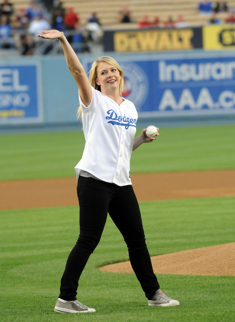 Melissa Joan Hart gave the crowd a wave as she headed to the pitchers mound at an LA Dodgers game in August 2010.
