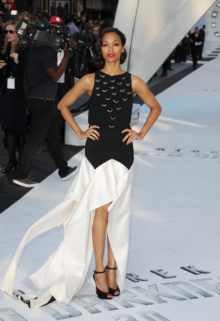Zoe Saldana wore a Vionnet gown to the premiere.