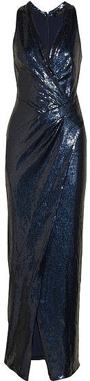 The clever wrap effect on this Donna Karan sequined stretch-tulle gown ($2,995) will cinch in your waist, and the high-slit skirt will give you plenty of movement and flexibility. We also feel that navy is always a sophisticated option.