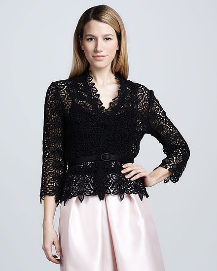 The best type of cover-up for a special occasion comes in lace with a scalloped trim. Consider layering this Carmen Marc Valvo long-sleeved lace top ($495) over a gown for more coverage or taking a modern approach and wearing separates. This would work perfectly with both tea- and floor-length skirts.