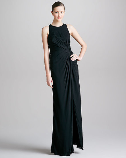 For a statuesque silhouette with a quiet sophistication, choose this Armani Collezioni knotted sleeveless column gown ($1,655) in stretch silk. The waist detail is a good dose of drama and perfect if you lean toward tailored pieces for special occasions.