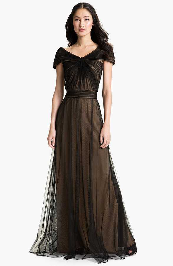 This Tadashi Shoji gown ($298) with a portrait collar is so regal, and the delicate pleating is both elegant and romantic. It's a great choice to highlight your neckline.