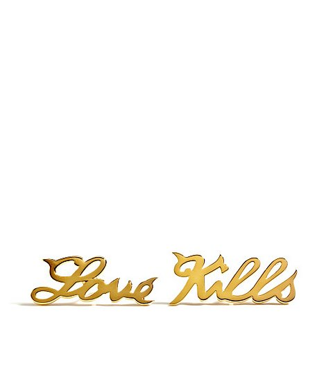 House of Waris Love Kills Gold Studs ($250)