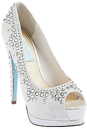 BETSEY JOHNSON Vow Satin Lace Rhinestone Pumps