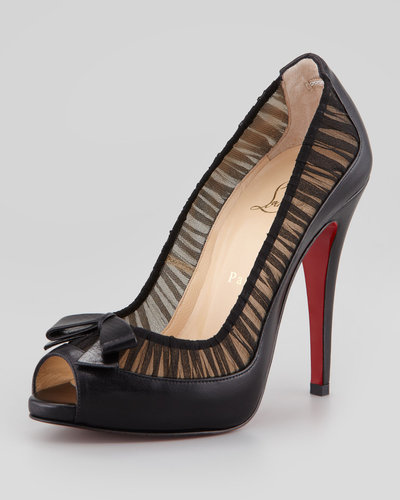 Christian Louboutin Angelique Leather/Chiffon Peep-Toe Red Sole Pump, Black