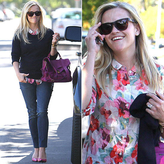 Reese Witherspoon blossomed in a floral-print blouse, magenta Proenza Schouler satchel, two-tone d'Orsay pumps by 3.1 Phillip Lim, and these Louisiana Purchase ($165) Westward Leaning sunglasses in LA.