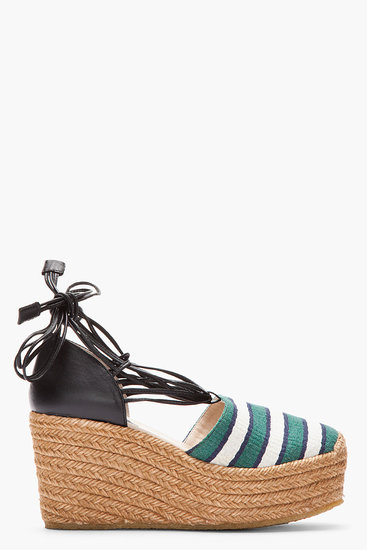 A chunky sole and bold stripe detailing make this Chloé green stripe high wedge espadrille ($495) perfect for walking around town.