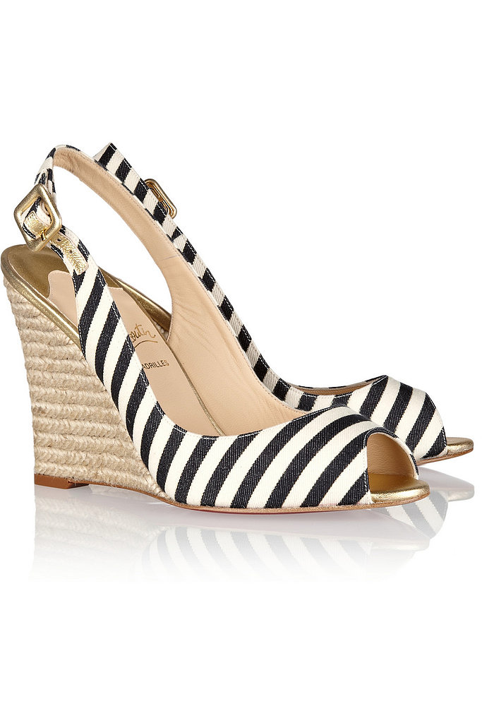 Christian Louboutin's Puglia stripe wedge espadrilles ($595) are the ultimate statement piece.