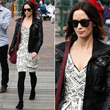 Emily Blunt was spotted sporting her Westward Leaning sunglasses with a printed dress and leather jacket while out and about in Sydney, Australia.