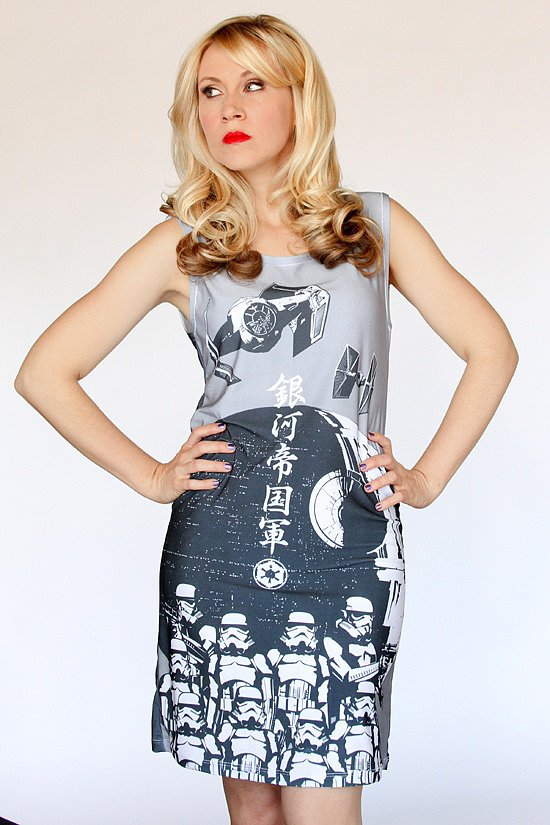 The Stormtrooper Dress ($20, originally $27) features art that had previously only been used in Japan on Star Wars-themed tea towels.