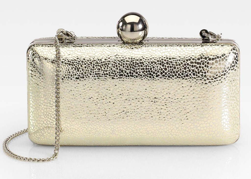 We're drawn to this Milly gold metallic pebbled minaudière  ($325) for its modern, artsy aesthetic.