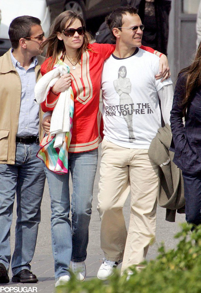 Hilary Swank and then-boyfriend John Campisi visited George Clooney in Lake Como while on an Italian holiday in April 2007.