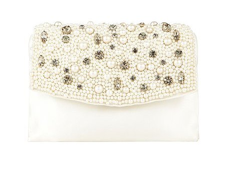 This Ann Taylor pearlized crystal satin clutch ($135) is not only beautiful, but it won't break your bridal budget. Win, win.