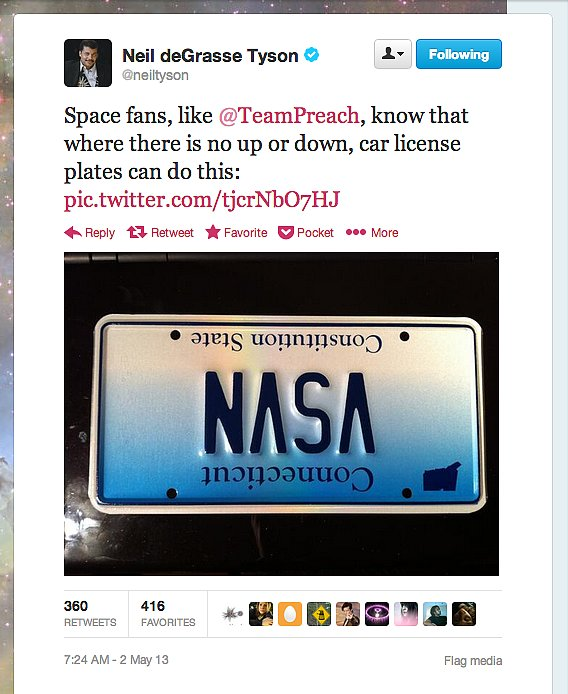 StarTalk Radio's Neil deGrasse Tyson found a subtle space fan in the Constitution State. Can't wait to put these kinds of license plates on the upside-down flying cars of the future!