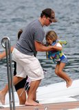 Matt Damon played with his stepdaughter Alexia Barroso on a boat in Lake Como in August 2009.