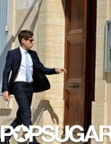James Righton made his way into the church on Saturday in Mazan, France.
