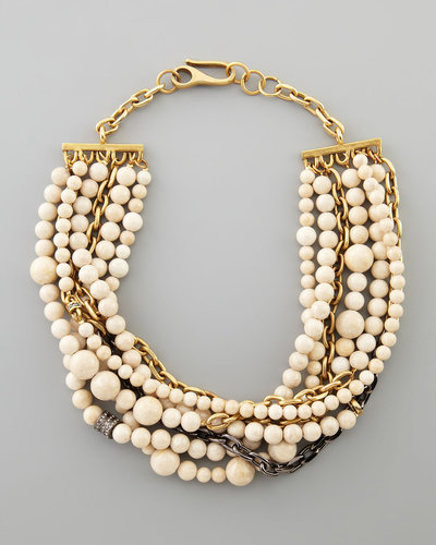 Paige Novick Julie 7-Strand Riverstone Beaded Necklace, Ivory