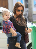 Victoria and Harper Beckham went shopping together in Paris on Saturday.