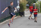 Brooklyn Beckham showed off his soccer skills in Paris with his brothers Romeo and Cruz.