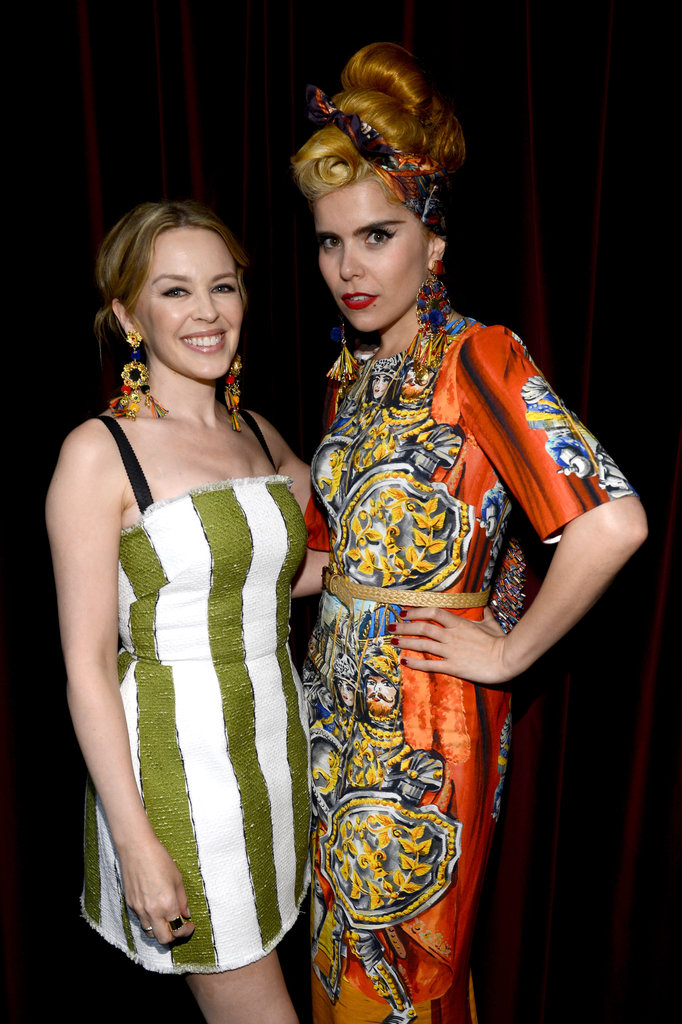 Singer Kylie Minogue posed with Paloma Faith in NYC at the opening of the Dolce & Gabbana store on Fifth Avenue.