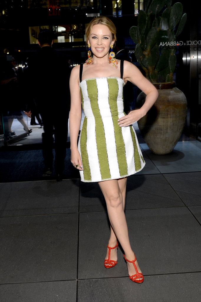 Kylie Minogue donned those bold vertical stripes from Dolce & Gabbana's Spring '13 collection for the brand's Fifth Avenue flagship opening. And to complement the already colorful look, she wore orange T-strap sandals, too.