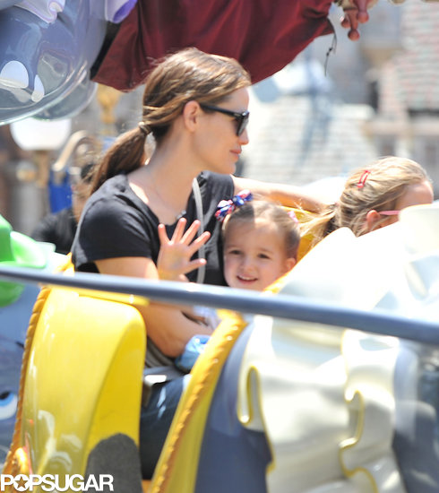 Seraphina Affleck smiled on the Dumbo ride in Disneyland on Saturday.