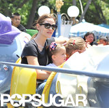 Jennifer Garner and Her Girls Ride Dumbo at Disneyland!